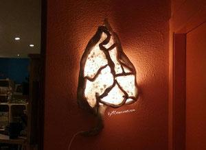 Decoración ecológica, maderas flotantes, decoración con palos, aplique de pared, driftwood lamp, eco desing