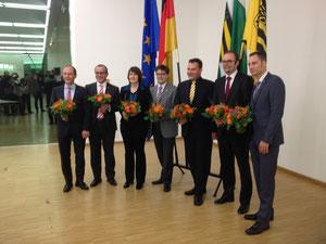 Sieben Kandidaten für Dresden (v.l.n.r.): Markus Ulbig, Martin Modschiedler, Aline Fiedler, Lars Rohwer, Christian Hartmann, Christian Piwarz, Patrick Schreiber