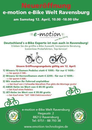 e-motion e-Bike Welt Ravensburg Eröffnungsangebote