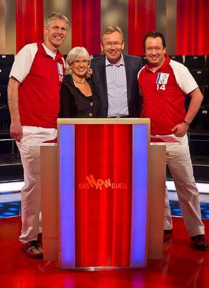 Hemer Butterflies beim NRW Duell. Von links: Udo Puhl, Iris Rademacher, Moderator Bernd Stelter und Jens Echtermann.