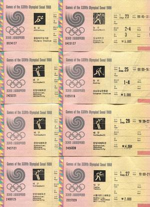 Eintrittskarten für Wettbewerbe bei den Olympischen Spielen in Seoul/Südkorea 1988
