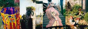 Peintures, sculptures, petits théâtres sylvestres... se succèdent dans le jardin