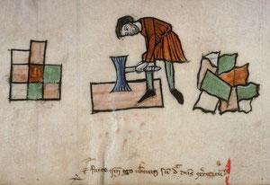 Tailleur de pierre muni d'une bretture, manuscrit d'Amiens, XIIIe siècle
