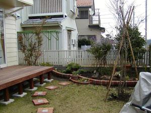 横浜でガーデンデザイン,ガーデニングや庭作り,造園工事を探すなら大和の樹楽屋へ,ウッドデッキやレンガ工事も樹楽屋へ