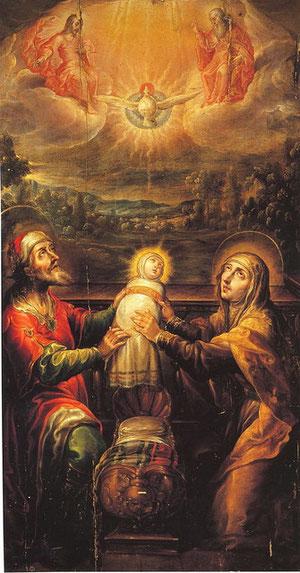 San Joaquín y Santa Ana ofreciendo la Virgen a la Santísima Trinidad