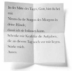 Zettel mit Gebet