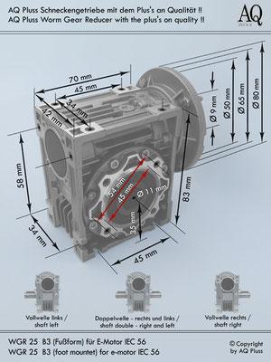 Getriebe  Schneckengetriebe  Schneckengetriebe ohne E Motor  B3 Fußform