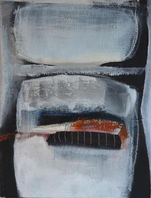 Andrea Ridder: SandStein (blau) 2, Acrylmischt. auf Holz, 2012