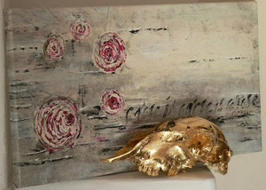 Kalligrafie Rose A Rose is a Rose 1Skulptur Skull