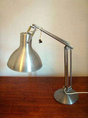 Lampe de bureau industrielle en aluminium brossé vintage