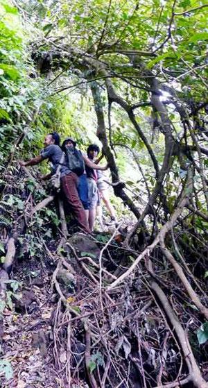 Vorsichtig bewegen sich Touristen einen Steilhang hinab