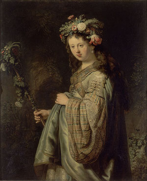 "Rembrandt's masterpiece ""Flora"" displaying his wife Saskia van Uylenburgh  -  source: State Hermitage St. Petersburg"