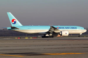 Pictured here is a Korean Air Boeing 777F