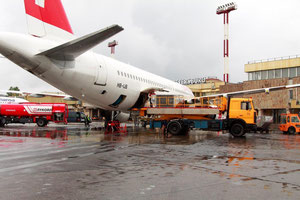 Loading of Swiss passenger aircraft at Pulkovo Airport  /  source: LED