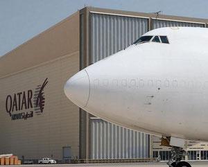 QR Cargo's 747-400BCF at Doha Airport  /  Credit QR