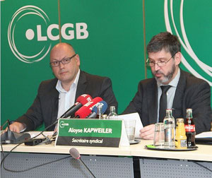 LCGB officials announcing their union's support for industrial action against Cargolux  -  credit LCGB