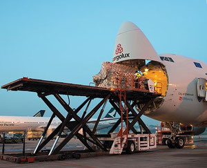 Loading of Cargolux freighter at Changi  /  source: SIN