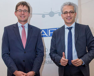 BARIG also seeks clarity on FRA airport. Pictured are BARIG's Michael Hoppe (left) and Tarek Al-Wazir  /  courtesy BARIG.