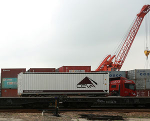 Ceva container waiting in Shilong to be loaded on cargo train  -  company courtesy