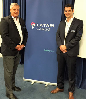 LATAM Cargo executives Guido Henke (left) and Jorge Carretero presented the carrier at the Air Cargo Club  -  photo: John Mc Donagh