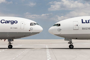 Nose-to-nose: MD-11F and Boeing 777F operated by LH Cargo  /  company courtesy.