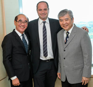 ECS Chairman & CEO Bertrand Schmoll (center) welcomes AVS GSA exects Thomas Ong (standing left) and Monchai Jirakiertivadhana joining the ECS Group  -  courtesy ECS