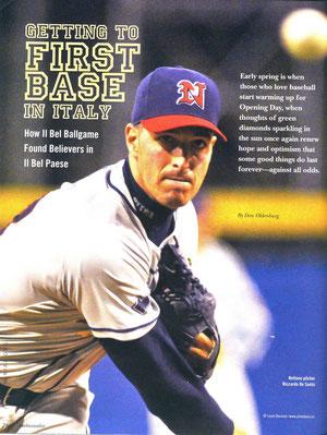 La pagina iniziale dell'articolo sul baseball italiano apparso sulla rivista Ambassador (Foto di Lauro Bassani)