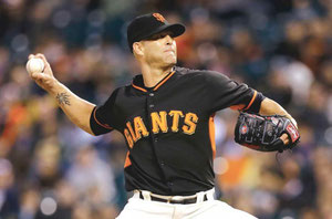 Nella foto Tim Hudson pitcher dei Giants (foto da Guardian Liberty Voice Sports)