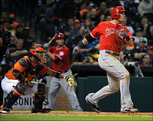 Josh Hamilton dei Los Angeles Angels (AP Photo/Eric Christian Smith)