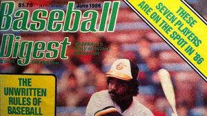 La copertina di Baseball Digest del Giugno 1986 dove furono pubblicate le Unwritten Rules