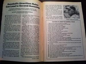 L'articolo Unwritten Rules pubblicato su Baseball Digest del Giugno 1986