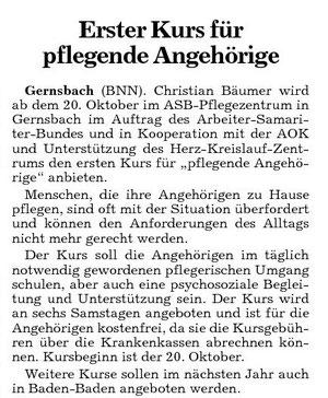 Zeitungsartikel vom Oktober 2007 (Badische Neueste Nachrichten)