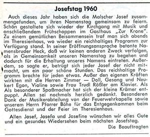 GA Joseftag 26-3-1960
