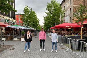 Nina Winter (Landtagswahlkreis 108: Bochum II), Léon Beck (Landtagswahlkreis 107: Bochum I) und Robert Bennington Christofor (Landtagswahlkreis 109: Bochum III) (v.l.n.r.)