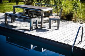 Dimaro Edelstahltisch Abacus Holzterrasse Pool Garten