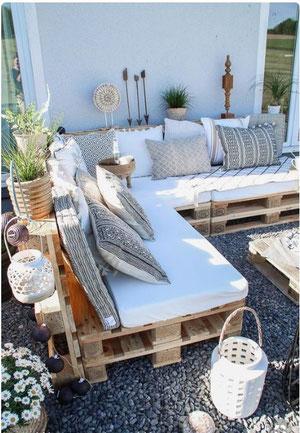Déco palette, salon de jardin palette, décoration terrasse