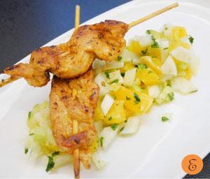 Marinierter Hühnerspieß / Orangen-Fenchelsalat