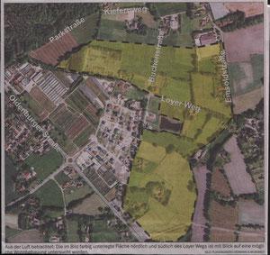 F.-Plangebiet Hankhausen (gelb eingefärbt), Auszug aus der NWZ vom 11.01.2012