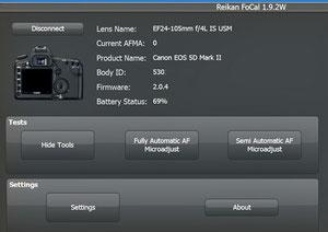 Reikan Focal определяет модель объектива и фотоаппарата