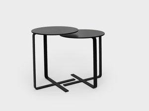 Beistelltisch X-Table in den Grössen 50cm und 55cm mit HPL Tischplatte und Metallfuss