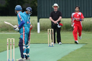 Ali Saleem bowling against Austria at Seebarn in 2012