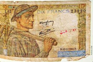 Un billet de dix francs à l'effigie d'un mineur