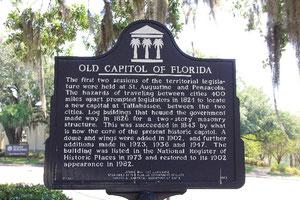 Hinweisschild Old Capitol of Florida
