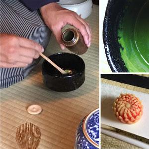 濃茶イメージと生菓子の一例