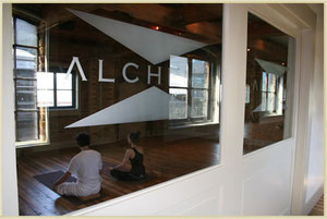 A yoga class at one of Alchemy's two beautiful studios