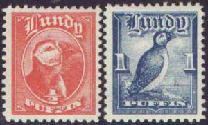 "The 1929 ""Half Puffin"" and ""One Puffin"" values."