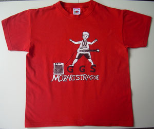 Unser Mozartschulen-Shirt in rot...