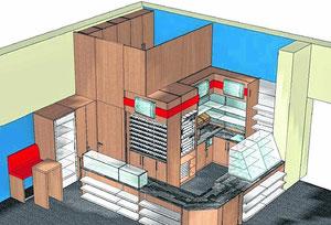 So soll's in wenigen Wochen aussehen: Am zentralen Theken- und Küchenbereich werden Speisen und Getränke frisch zubereitet.