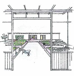 Impression: Mitten im Zentrum entsteht eine kleine Gartenanlage, in der Senioren werkeln können.