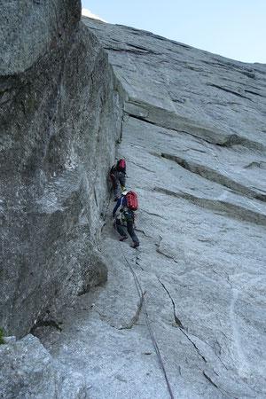 Piz Badile, Nordwand, Via Cassin, Rebuffat, Rebuffat-Verschneidung